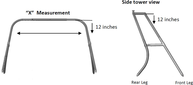 Collapsible Bimini front and side measurements